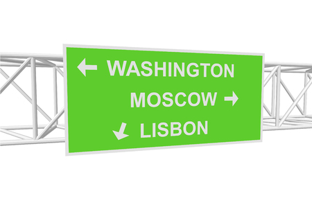 lisbon: three-dimensional illustration of a road sign with directions: WASHINGTON; MOSCOW; LISBON