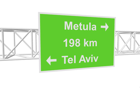 aviv: three-dimensional illustration of a road sign with directions: Tel Aviv; Metula; distance