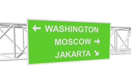 jakarta: three-dimensional illustration of a road sign with directions: WASHINGTON; MOSCOW; JAKARTA