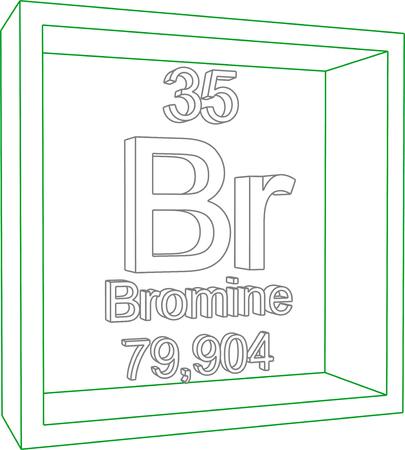 Br2 bromo 3d molcula aislada en blanco ilustraciones vectoriales tabla peridica de los elementos bromo urtaz Images