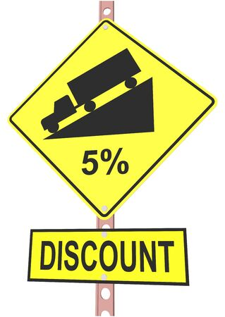 Yellow road sign with 5% discount message and sale alert Illustration
