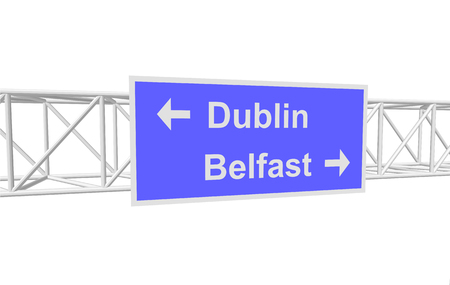 belfast: three-dimensional illustration of a road sign with directions: Dublin; Belfast Illustration