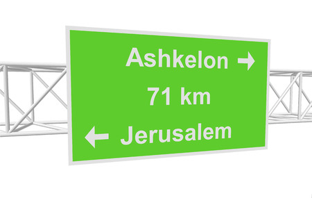 jerusalem: three-dimensional illustration of a road sign with directions: Jerusalem; Ashkelon; distance