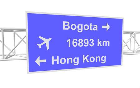 hong kong street: three-dimensional illustration of a road sign with directions: Bogota; Hong Kong; distance Illustration