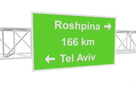 aviv: three-dimensional illustration of a road sign with directions: Tel Aviv; Roshpina; distance Illustration