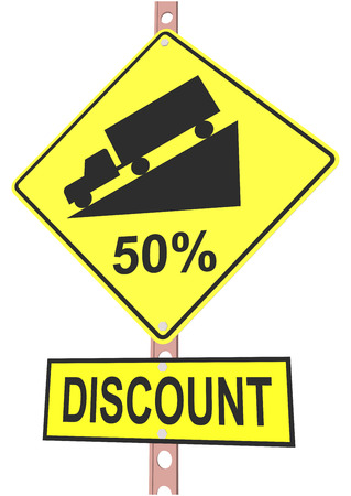 Yellow road sign with 50% discount message and sale alert