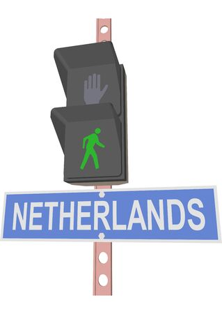 entrance is forbidden: traffic light and a sign with the text NETHERLANDS