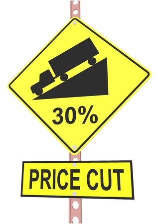 off highway: Yellow road sign with 30% discount message and sale alert
