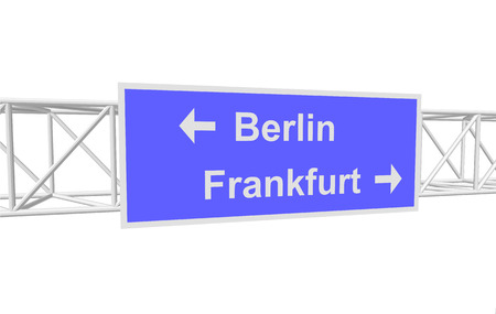 frankfurt: three-dimensional illustration of a road sign with directions: Berlin; Frankfurt