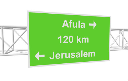 jerusalem: three-dimensional illustration of a road sign with directions: Jerusalem; Afula; distance