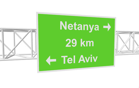 tel: three-dimensional illustration of a road sign with directions: Tel Aviv; Netanya; distance Illustration