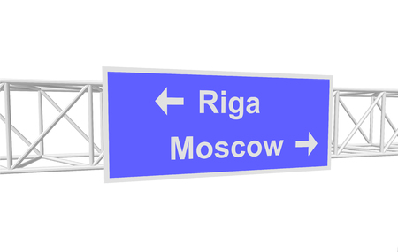 moscow: three-dimensional illustration of a road sign with directions: Riga; Moscow
