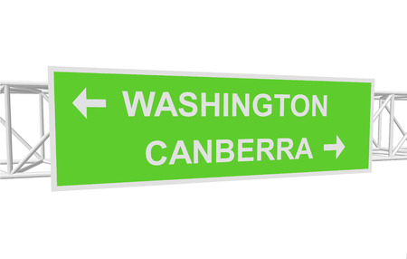 canberra: three-dimensional illustration of a road sign with directions: WASHINGTON; CANBERRA Illustration