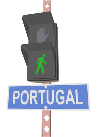 entrance is forbidden: traffic light and a sign with the text PORTUGAL