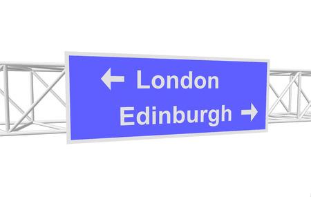 edinburgh: three-dimensional illustration of a road sign with directions: London; Edinburgh