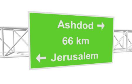 ashdod: three-dimensional illustration of a road sign with directions: Jerusalem; Ashdod; distance Illustration