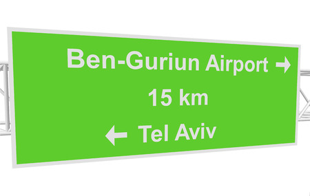 tel: three-dimensional illustration of a road sign with directions: Tel Aviv; Ben-Guriun Airport; distance