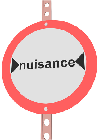 nuisance: road sign with the text nuisance