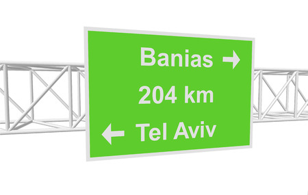 banias: three-dimensional illustration of a road sign with directions: Tel Aviv; Banias; distance
