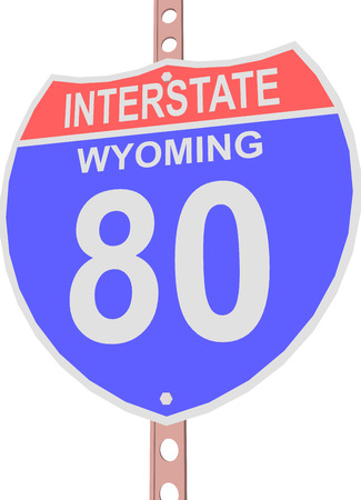 interstate 80: Interstate highway 80 road sign in Wyoming Illustration
