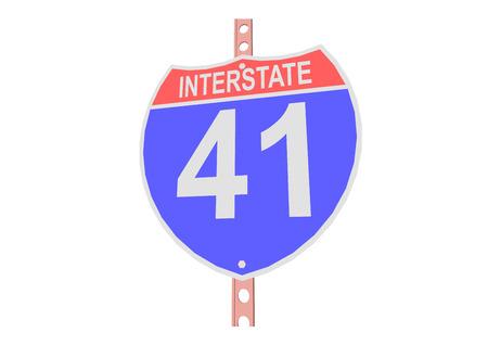 Interstate highway 41 road sign in Illustration