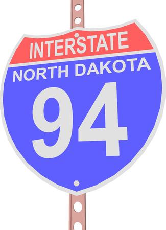 Interstate highway 94 road sign in North Dakota