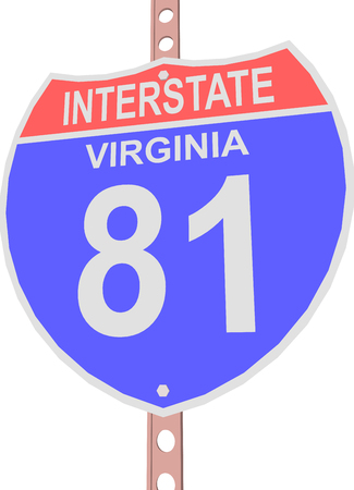 interstate: Interstate highway 81 road sign in Virginia Illustration
