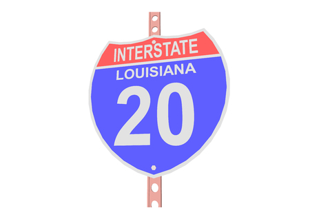 interstate: Interstate highway 20 road sign in Louisiana