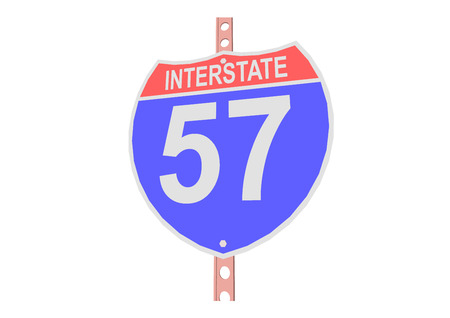 57: Interstate highway 57 road sign in