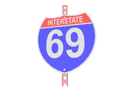 Interstate highway 69 road sign in Illustration