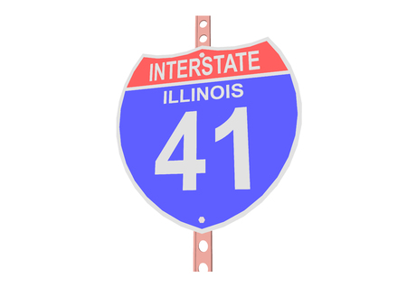 interstate: Interstate highway 41 road sign in Illinois