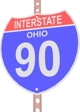 90: Interstate highway 90 road sign in Ohio Illustration