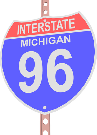 interstate: Interstate highway 96 road sign in Michigan Illustration