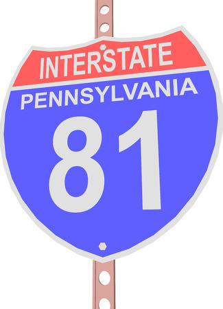 pennsylvania: Interstate highway 81 road sign in Pennsylvania