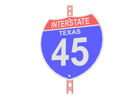 interstate: Interstate highway 45 road sign in Texas Illustration