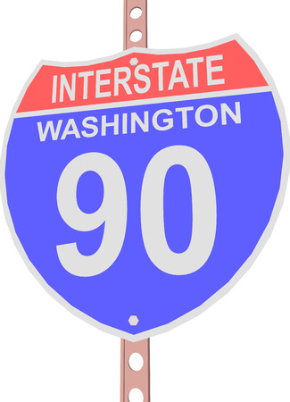 interstate: Interstate highway 90 road sign in Washington Illustration