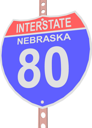 interstate: Interstate highway 80 road sign in Nebraska