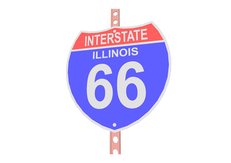 interstate: Interstate highway 66 road sign in Illinois Illustration