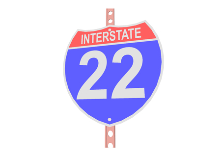 Interstate highway 22 road sign in