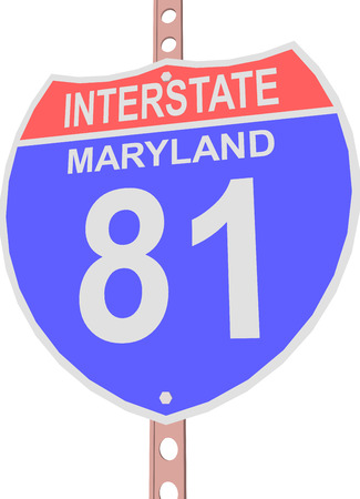 interstate: Interstate highway 81 road sign in Maryland