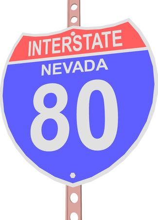 interstate 80: Interstate highway 80 road sign in Nevada Illustration