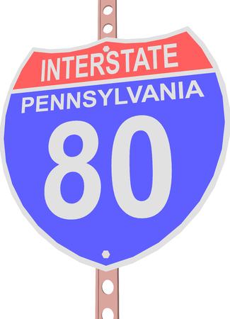 interstate 80: Interstate highway 80 road sign in Pennsylvania Illustration