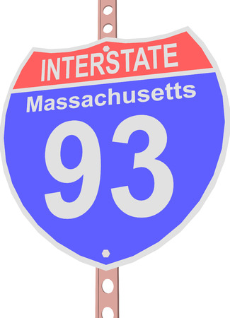 interstate: Interstate highway 93 road sign in Massachusetts Illustration