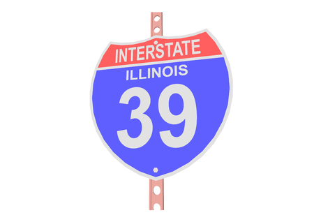 interstate: Interstate highway 39 road sign in Illinois