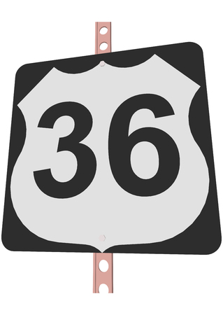 number 36: US 36 Route sign