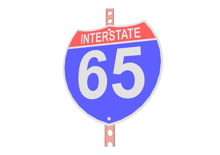 65: Interstate highway 65 road sign in Illustration