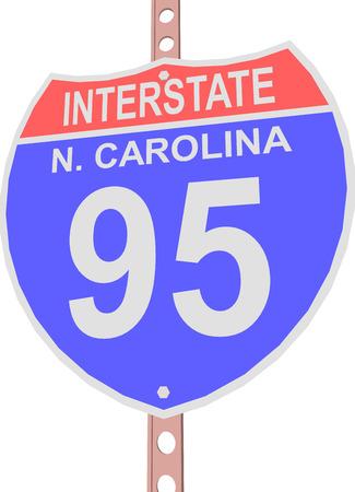 95: Interstate highway 95 road sign in North Carolina