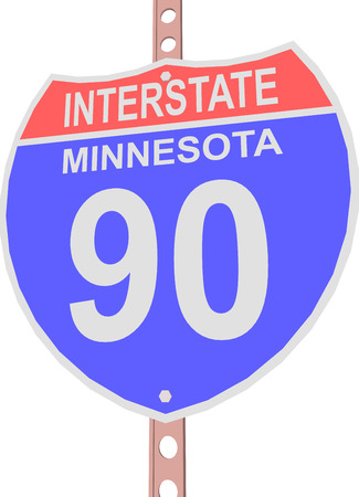 interstate: Interstate highway 90 road sign in Minnesota