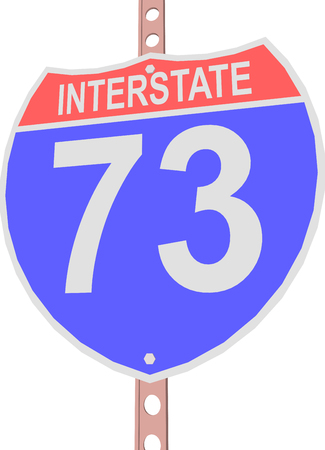 motorway: Interstate highway 73 road sign in
