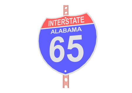 65: Interstate highway 65 road sign in Alabama Illustration